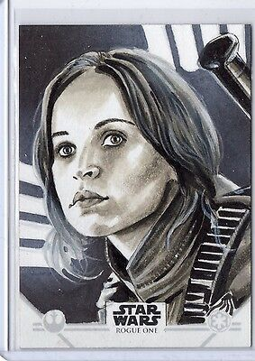 2016 Topps Star Wars Rogue One sketch card of JYN ERSO by J. Davies w/ his AUTO!