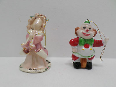 Two Christmas Tree Ornaments Porcelain Angel and  Clown