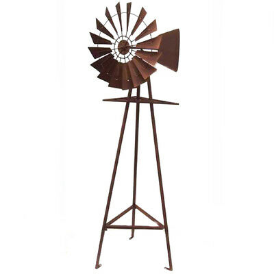 Windmill Garden Sculpture Metal Iron Ornament Rustic Brown Rust 160cm