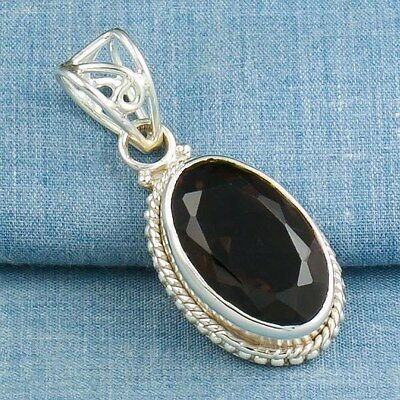 Handcrafted SMOKY QUARTZ PENDANT 925 Sterling Silver + FREE GIFT