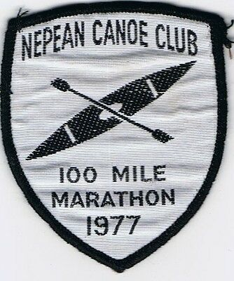 Nepean Canoe Club 100 Mile 1977 Vintage Souvenir Woven Cloth Patch Badge