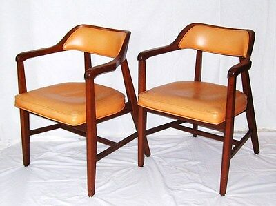 vintage mid century modern danish walnut jasper side chairs salmon vinyl