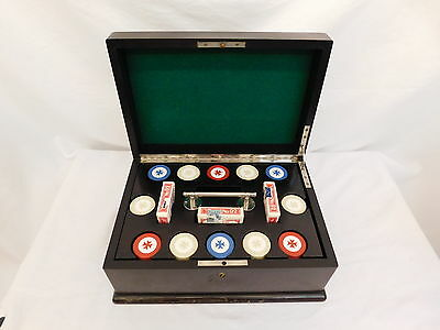 Bakelite Antique Poker 300 Chip Set With Dark Cherry Wood Case Casino