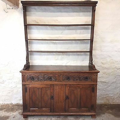 C18th Style Carved Oak Welsh Dresser with Plate Rack - Early C20th (Antique)