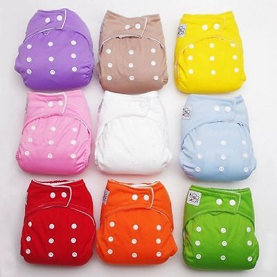 USA 1 PCS+1 INSERTS Adjustable Reusable Lot Baby Washable Cloth Diaper Nappies