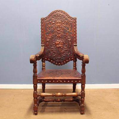 English 19th century fauteuil antique chair carved leather green man satyr
