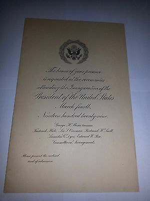 1929 Scarce Congressional Inaugural Invitation for President Herbert Hoover