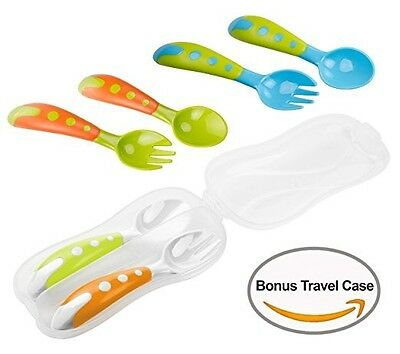 Baby Spoon Training Set 3 Spoon And Fork Set With Bonus Travel Carrying