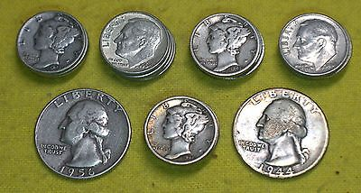 Lot 90% Silver 1/2 roll Mercury, Roosevelt dimes, and 1956 1944 Quarters 27 coin