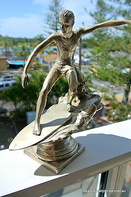 "used medium SURFER statue silver vintage style TROPHY 9"" SURF surfing statue"