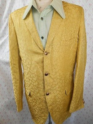 Vintage 60s 70s USA Gold Jacquard Jacket 40-42 Rock & Roll Vegas Cocktail Glam