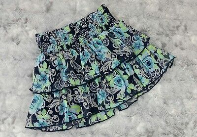 Justice Girls Size 12 Chiffon Blue Green Flower Tiered Skirt Skort Shorts