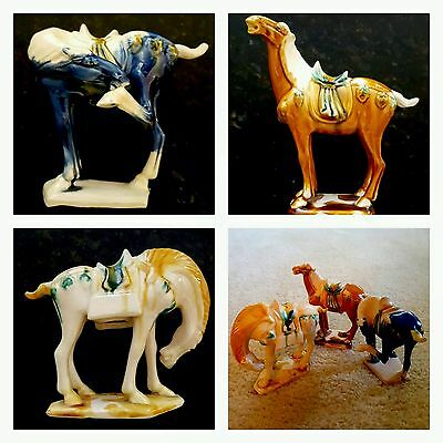 Set of THREE Tang Dynasty Horses, Antique Porcelain Chinese Glazed Pottery