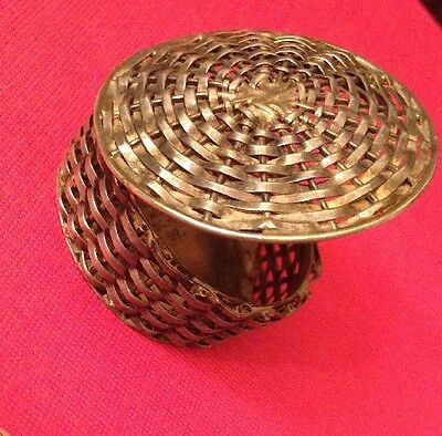 Sterling Silver Mexico 925 Miniature Small Travel Pill Box Basket Weave Fancy
