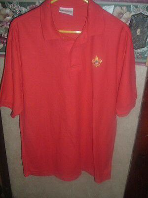 Adult BSA Boy Scout Uniform Shirt Red  Polo   X-LARGE - Embroidered