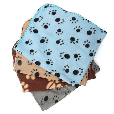 Warm Paw Print Soft Pet Dog Cat Puppy Fleece Soft Blanket Mat Cover Cushion