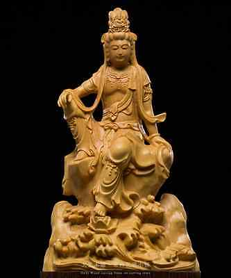 Exquisite Wood Carving Crafts,Hand-made Cute Home Decoration,Freedom GuanYin