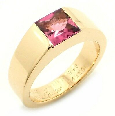 Cartier solitaire tank ring ring # 49 No. 9 K18YG 750YG Yellow Gold