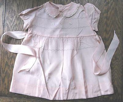 True Vtg Baby Toddler Dress Pink Taffeta W/ Lace & Embroidery TLC