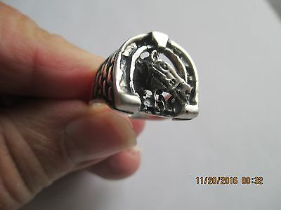 Horse Ring in Horseshoe..STERLING SILVER..New...Taxcvo
