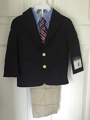 Nautica Boys Infant 4-piece Suit Navy Blazer Khaki Pants Tie Shirt 18 Months
