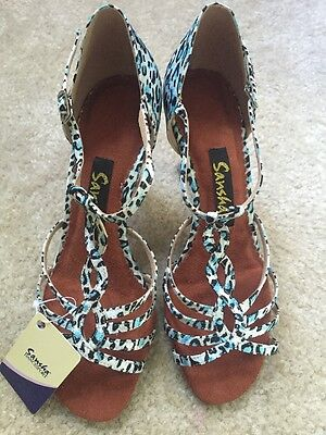 New Women Blue Leopardo Leather ballroom Latin salsa bachata Sansha shoes 9