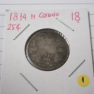 1874 H Canada Silver 25 Cents Coin