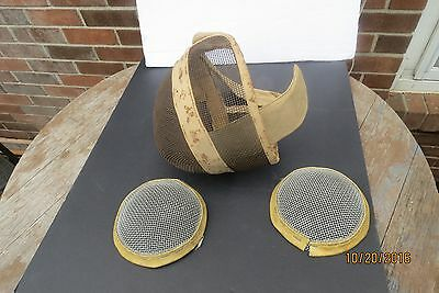 Vintage Leon Paul Fencing Face Mask And 2 Chest Or Knee Protectors-