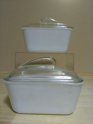 Glassbake, Mckee Glass, 60's 2 Oven to Refrigerator Dishes w/ Unusual Style Lids