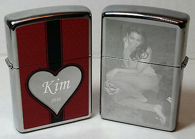 Custom Engraved Chrome Heart Zippo Lighter with Photo,Text Engraving & Flints