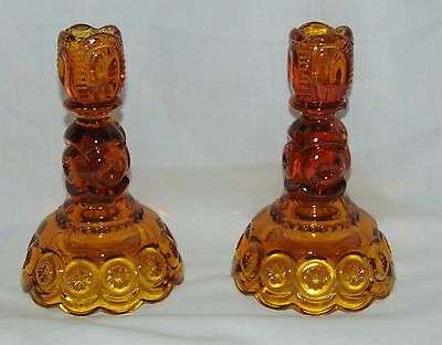 "LG Wright MOON & STARS AMBER* 6"" TALL CANDLESTICKS* #44-6* PAIR*"