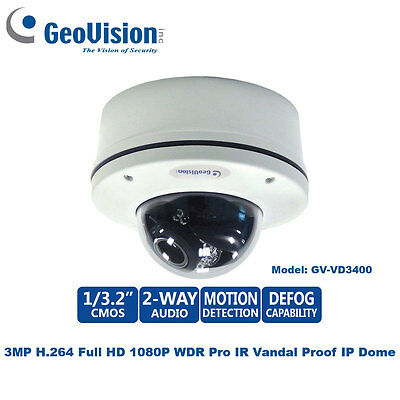 Geovision GV-VD3400 3MP 1080P WDR Pro Outdoor IR Vandalproof IP Dome/3~9mm Lens
