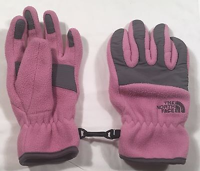Girl's Pink & Gray The North Face Fleece Winter Gloves - sz M