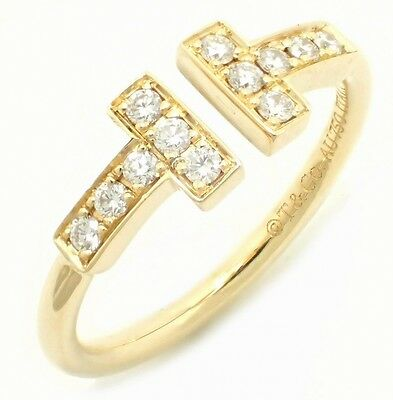 TIFFANY & Co. T wire ring ring No. 8 # 8 K18YG yellow gold D0.13ct