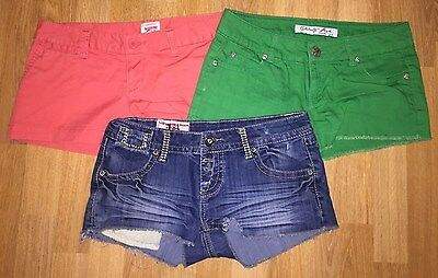 Lot of 3 Women's Colored Jean Shorts - Size 3 - Mossimo, 1st Kiss Celebrity Pink