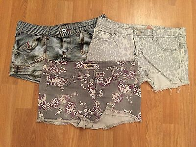 Lot of 3 Women's Designed Jean Shorts - Size 3 - 5 - Mudd, Refuge, Mossimo