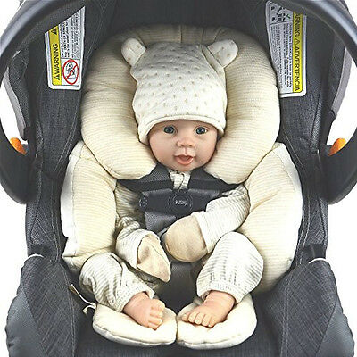 Organic Infant Head Support Stroller Cushion Car Seat Gray Bouncer Body Baby New