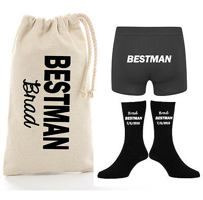 Groom Groomsman Gift PACK Personalised socks wedding boxer brief Bridal Party