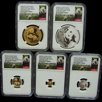 2016 China Panda Honolulu Hawaii Hsna Show 5 Coin Set Ngc Pf69 Er 50% Off Sale