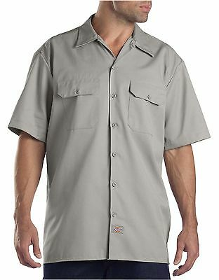 New Dickies Men's L Large Short Sleeve Twill Work Shirt Silver NWT