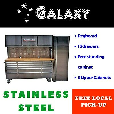 Storage Workbench System Total 2.4m Tool Chest Trolley Pegboard Garage Cabinets