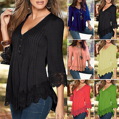 Women Ladies Casual Lace Shirts Loose Blouses T-Shirt Tops Shirts Plus Size NEW!
