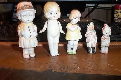 5 Vintage Bisque Small Dolls Germany & Japan Eary Nice For That Collector