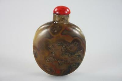 ANTIQUE CHINESE CARVED AGATE SNUFF BOTTLE stamped