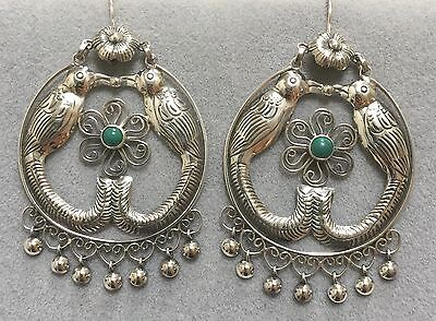 Large Wide Mexican Signed Designer Sterling Silver LoveBird Frida Earrings