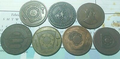 Lot of (7) Old 1800's Masonic Tokens****