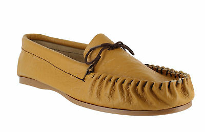 British Hand Made Mens Casual Tan Leather Moccs Moccasins Slippers
