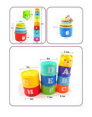 Colorful Stacking Cups Fun Building Block Style Development Toy For Kids