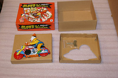 Tin Lithograph Wind up Clockwork Clown on A Motorcycle w Box China Mechanical