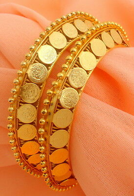 Ethnic South Indian Gold Plated Coin Bangles Bracelet Indian Fashion Jewelry 2/6